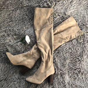 Shoes - NWT City Classic Thigh High Boots Taupe